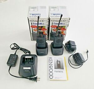 Two Kenwood Free Talk Xl Tk 3101 Two Way Radio 3 Chargers 2 Batteries