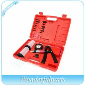 Hand Held Vacuum Pressure Pump Tester Fluid Brake Bleeder Tool Set 21pcs