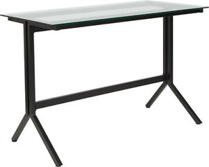 Modern Sleek Design Computer Desk W clear Tempered Glass Top Black Metal Frame