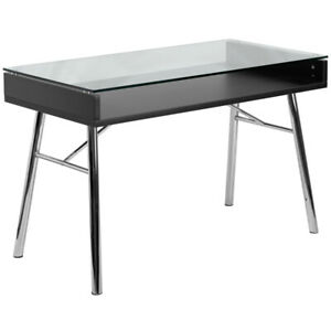 Modern Sleek Computer Desk With Tempered Clear Glass Top Chrome Metal Frame