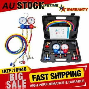 A C Refrigeration Kit Ac Manifold Gauge Tools For R134a R404a R410a 0 500 Psi Us