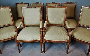 Set Of 8 12 Vintage French Empire Dining Chairs Hand Carved Gold Gilt Accents