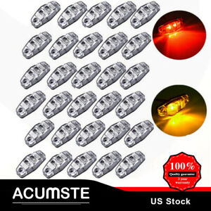 30x 2 5 20amber 10red Led Clear Lens Side Marker Light Truck Trailer Clearance