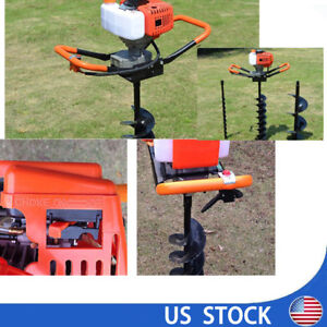 2 4ps 52cc Power Engine Gas Powered Post Hole Digger 4 6 8 Auger Drill Bit Us