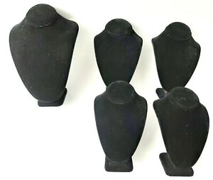 Lot Of 5 Black Velvet Jewelry Display Busts Necklaces 2 Sizes 1 Larger 4 Same