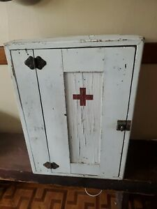 Antique Vintage Primitive Folk Art Medical Wood Painted Cabinet Cupboard