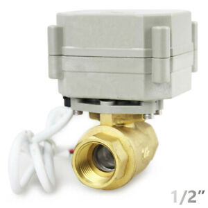 Brass 1 2 9v 12v To 24 Vac dc 5 wires Manual Override N c Motorized Ball Valve