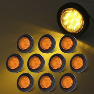 10x Amber 2 Round 9led Rv Trailer Truck Clearence Side Marker Light W grommet
