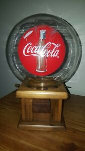 Vintage COCA-COLA GUMBALL MACHINE Glass Globe With Wood Base