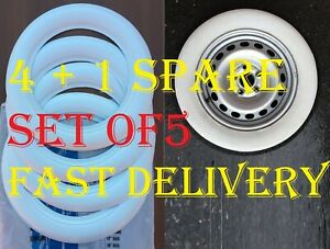 5 Pcs 15 Inch Wheel 3 Side White Wall Tyre Trim Hot Rod Chevy Ford Dodge Mopar
