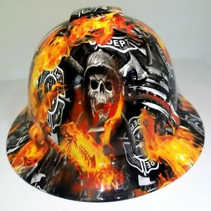 New Full Brim Hard Hat Custom Hydro Dipped Thin Red Line Of Courage Fireman