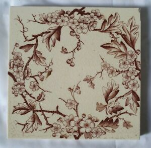 Elegant Victorian Aesthetic English Floral Prunus Design Tile 5 Available