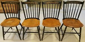 4 Hitchcock Solid Maple Country Side Chairs Black Stenciled Riverton Ct Signed