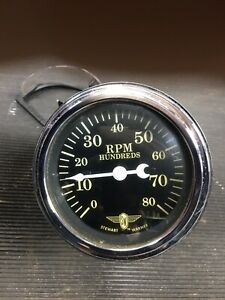 Vintage Stewart Warner Wing Tachometer 8000 Gauge Vintage Hot Rod Dash Panel
