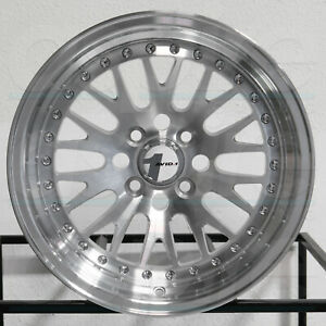 4 new 15 Avid1 Av12 Av 12 Wheels 15x8 4x100 25 Silver Machined Rims