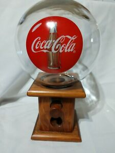 Vintage / Antique Coca-Cola Globe Glass & Wood Candy  Gumball or Nut Dispenser