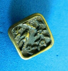 Unusual Square Antique Brass Picture Button Bird On Tower W Flowers
