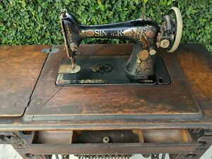 Antique Singer Treadle Sewing Machine In Carved 7 Drawer Cabinet