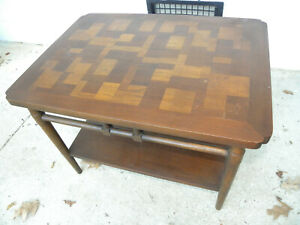 Mid Century Brutalist Style Walnut Small Coffee Side Table By Lane