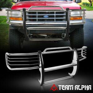 Fits 1992 1997 F150 f250 bronco Stainless Steel 1 5 Bumper Grille brush Guard