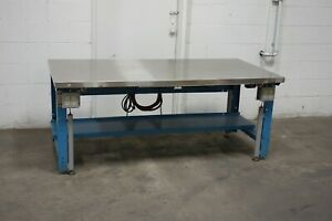 Used Hydraulic Lift Workbench Table 72x30 30 42 High Stainless Steel Top Heavy