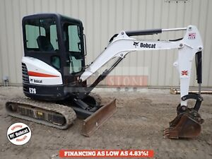 2016 Bobcat E26 Mini Excavator Cab Heat ac Aux Hydraulics 2 Speed Radio