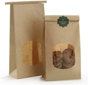Bakery Bags With Window Kraft Paper Bags 100pcs Cookie Bags Coffee Bags