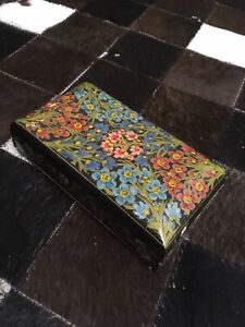 Vintage Hand Painted Wooden Jewelry Box