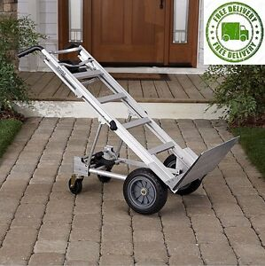 Assisted Hand Truck Aluminum Wheels Dolly Appliance Mover Cart Convertible Fold