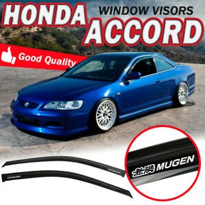 For 98 02 Honda Accord Coupe Window Visors Tape On Guard Smoke Tinted Rain Vents