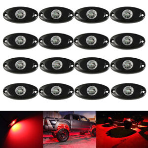 16x 9w Cree Led Rock Light Kits Red Waterproof Underglow Lamp For Truck Jeep Suv
