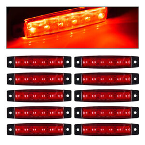 10x 3 8 Red 6led Side Marker Light Clearence Truck Sealed Light For Pickup Truc