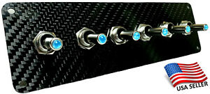 Carbon Fiber 6 Toggle Switch Panel Blue Led