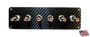 Carbon Fiber 6 Toggle Switch Panel Red Led
