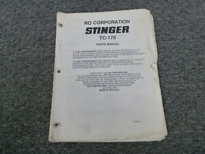 Ro Stinger Tc 175 Telescopic Boom Crawler Crane Parts Catalog Manual Book