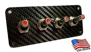 Carbon Fiber 4 Toggle Switch Panel Red Led