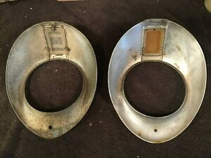 Set Antique Vtg 1930 1941 F1 Ford Truck Car Chrome Headlight Bezels Mercury