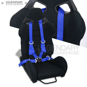 Fully Reclinable Racing Black Bucket Cloth Comfort Seat 4 Point Blue Seatbelt