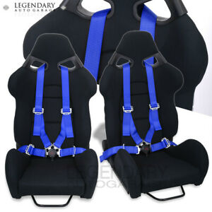 Racing Black Cuga Style Bucket Seats 4 Point Blue Camlock Safety Seatbelt Pair