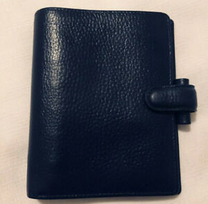 Filofax Navy Blue Leather Personal Finsbury Genuine Organizer 6 Ring Zip Pocket