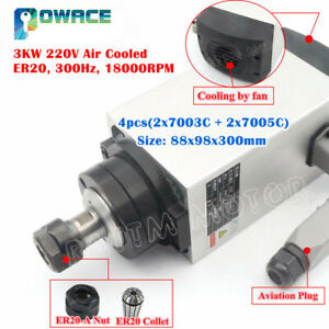 3kw 220v Square Air Cooled Spindle Motor Er20 18000rpm 10a F Cnc Router Machine