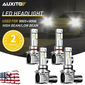 4x Auxito 9005 9006 Led Headlight Kit Combo Bulb 6500k High Low Beam Super White