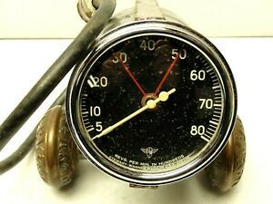 1950 s Vintage Wings Curved Glass Stewart Warner Electrical Tachometer 8k Rpm
