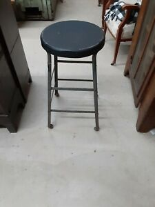 Vintage Older Heavy Duty Industrial Shop Stool 26h By 14 Wide