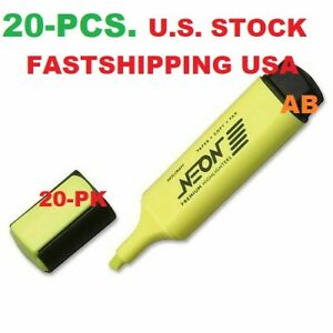 20 pack 32 89 Skilcraft Neon Yellow Highlighter Made In Usa High Quality 20pk