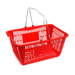 Plastic Shopping Basket In Red 18 75 W X 12 50 D X 9 75 H Inches