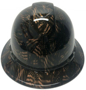 Custom Hydro Dipped Hard Hat Ridgeline Fb Copper Metallic Negative American Flag