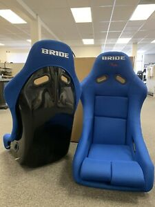 Pair 2 Seats Bride Vios Blue Cloth Fiberglass Seats Low Max Jdm Rare Open Box