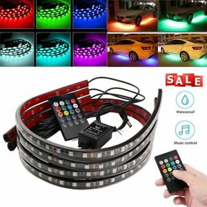 4pcs Rgb Led Strip Under Car Tube Underglow Underbody System Neon Light Lamp Kit
