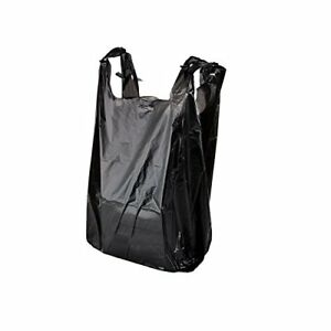 5000 Black Plastic T shirt Shopping Bags Handles Retail Grocery Large